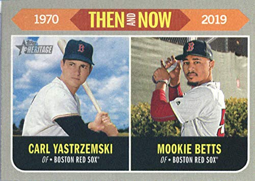 Sox Cards Baseball Boston Red Topps - 2019 Topps Heritage Then and Now #TN-9 Mookie Betts/Carl Yastrzemski Boston Red Sox Baseball Card