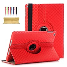 iPad Air 2 9.7 Inch Case, UUcovers 360 Degree Rotating Vertical and Horizontal Stand Auto Wake/Sleep Smart Case Hard PC Shell Synthetic Leather Cover with Stylus Card Holder Strap for iPad Air 2/iPad 6 (A1566 A1567), Red