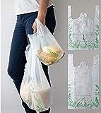 Paquete 100pz de bolsa grande (31x58cm) tipo camiseta. Bolsa certificada biodegradable de fécula de maíz