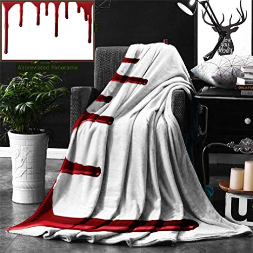 Unique Custom Digital Print Flannel Blankets Bloody Flowing Blood Horror Spooky Halloween Zombie Crime Scary Help Me Themed Ill Super Soft Blanketry for Bed Couch, Throw Blanket 70 x 50 Inches -