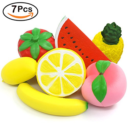 7 Pack Squishies Slow Rising Jumbo Strawberry Peach Banana Pineapple Lemon Watermelon Mango Squishy Fruit Cream Scented Stress Reliever Party Favors Toys Food Decorations for Kids Adults by Hyanwoo