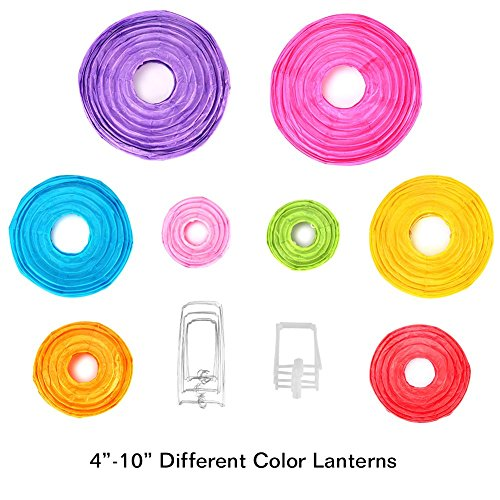 16 Pcs Paper Lanterns Decorative with Assorted Colors and Sizes - Chinese/Japanese Paper Hanging Decorations Ball Lanterns Lamps for Home Decor, Parties, and Weddings by bynhieo (Image #6)