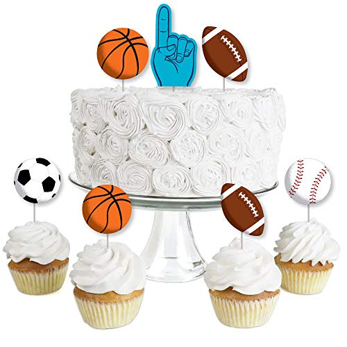 Go, Fight, Win - Sports - Dessert Cupcake Toppers - Baby Shower or Birthday Party Clear Treat Picks - Set of 24 ()