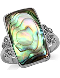 Abalone Paua Shell Inlay White Gold Plated 925 Sterling Silver Swirl and Spiral Ring