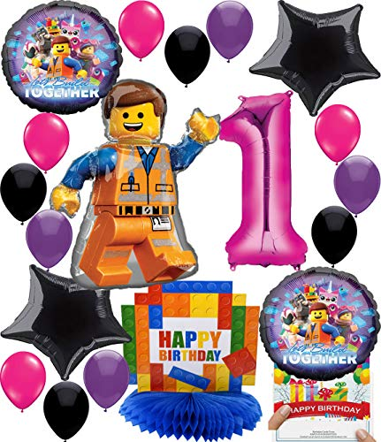 Lego Movie 2 Girls Deluxe Balloon Decoration Bundle for (1st Birthday)]()
