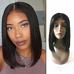Enoya Hair Straight Brazilian Virgin Hair Glueless Machine Made Human Hair Bob Wigs Middle Part Short Wigs 12inch (Natural color)