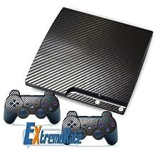 NEW Black Carbon Fiber Vinyl Skin Decals Sticker For PS3 Slim For PlayStation 3 Controller