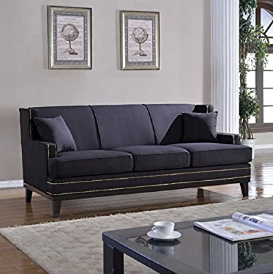 Classic Traditional Soft Linen Sofa with Nailhead Trim - Living Room Furniture