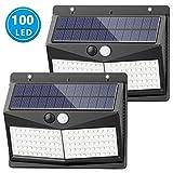 Luz Solar de Exterior, MCSWKEY Mejoradas 100 LED Luces de seguridad solar con Sensor de Movimiento Lámparas Solares Para Exterior IP65 Impermeable para jardín Cerca Patio Garaje (2 Paquetes)
