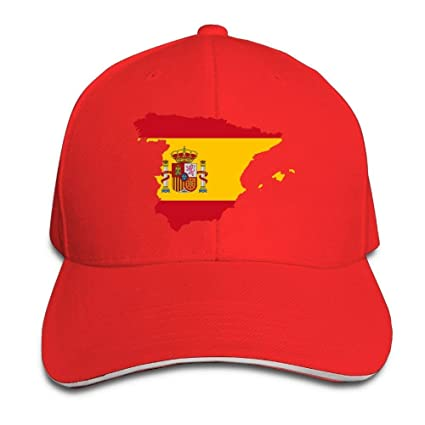 Vintage Adulto Bandera de España Mapa Snapback Sombrero Negro Sándwich Pico Gorra Rojo Multicolor12