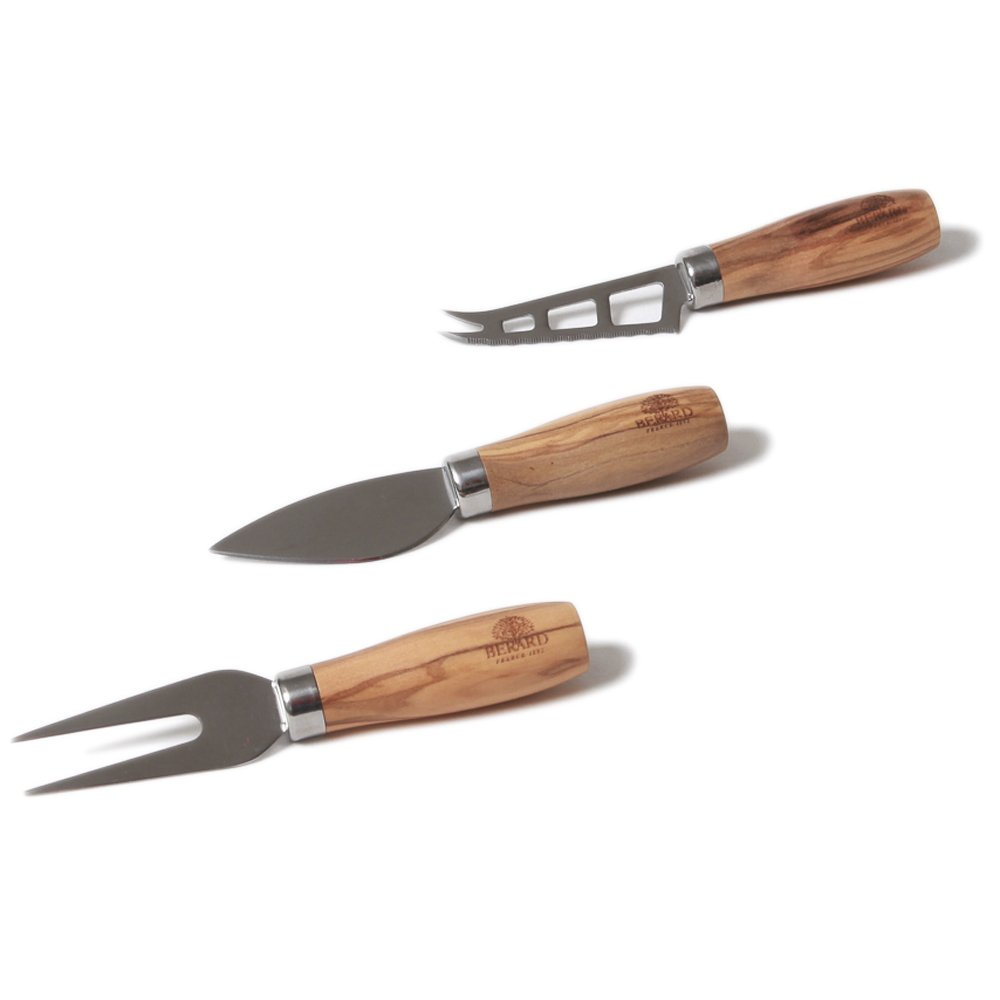 Berard Stainless Steel 3 Piece Cheese Knife Set with Olive Wood Handles
