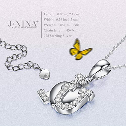 J.NINA 925 Sterling Silver Women Jewelry Gifts -I Love You- Elegant Necklace with Swarovski Crystals, Fashion Heart Pendant Necklace, Gifts for Women Mom with a Luxury Packaging