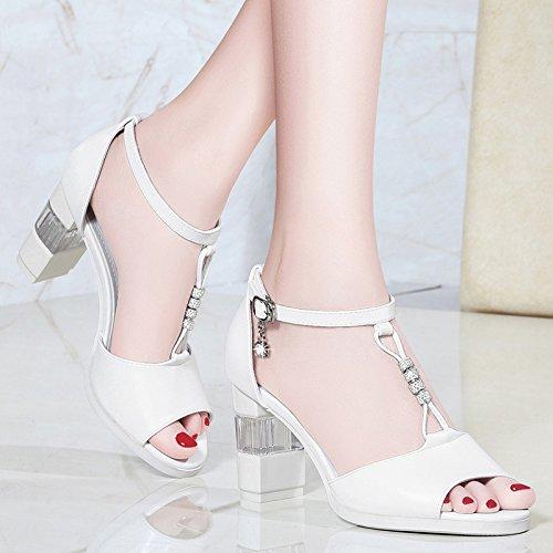 Alla Da Sandali indossano un scarpe Donna da AJUNR spessore scarpe stile spesso estate alto white nuova grande le numero inferiore tacco roma di Moda di donne tacco di dtwFAc5qc