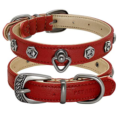 PET ARTIST Soft Leather Designer Dog Collars for Small Medium Dogs Puppies, Handcraft Rose Rivet Studded Puppy Collar for Pug French Bulldog Miniature Pinscher, Red S(Neck fit:10.5-14.5'')
