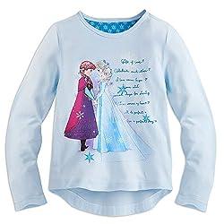 Disney Girls Anna and Elsa Long Sleeve Tee 2 Blue