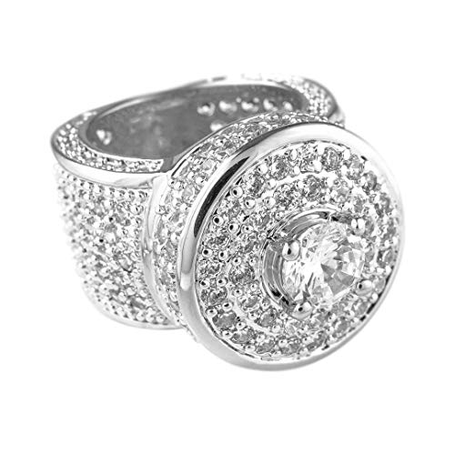 NIV'S BLING 18k White Gold-Plated Cubic Zirconia Cluster Pinky Ring Size - Ring Settings Pave Micro