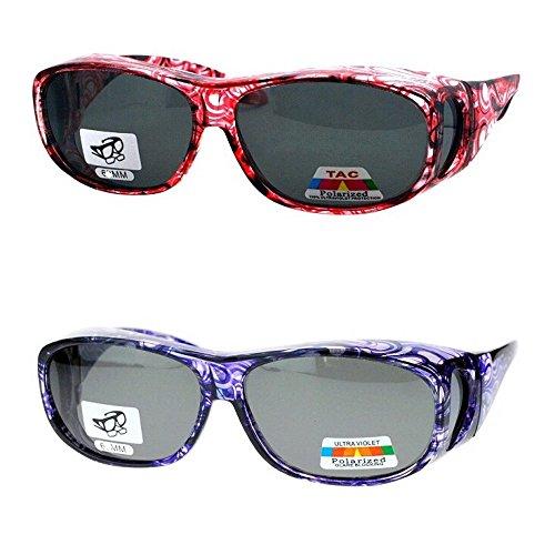 (2 Pair Polarized Fit Over Oval Rectangular Sunglasses -8866JP2- Light Red/Purple)