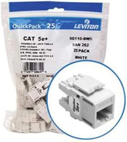 White Leviton 5G110-BW5 Ethernet Connection 25 Pack GigaMax 5e+ QuickPort Connector Quickpack