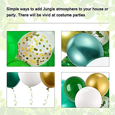 Ivy Vines and Balloon Strip 123 Pieces Jungle Safari Balloons Garland Arch Kit with Palm Leaves Tropical Party Decorations Anniversary