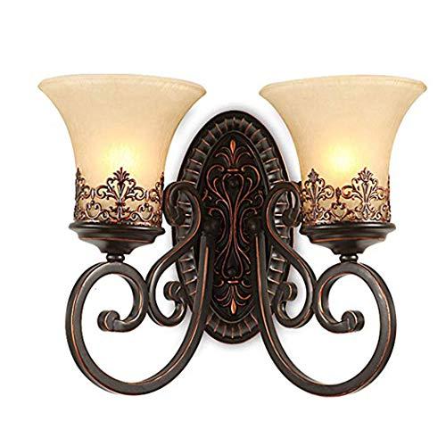 (ZIXUAA Retro Simple Creative Wall Lamp Vintage Antique Nostalgia Interior Design Bronze Wall Lamp Round Glass Lampshade Lamp Holder Beautiful Corridor Stairs Bedroom Aisle Hemp Rope 2 E27 Ø46CM)