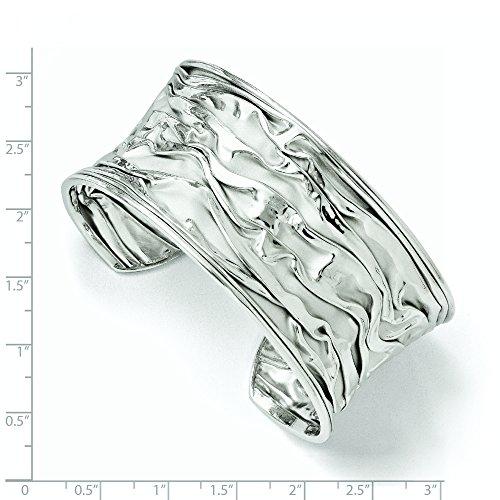 32 mm Argent 925/1000 Rhodié grand Concave Froissez Bracelet JewelryWeb