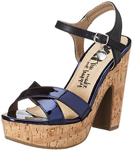 XTI Damen PU Ladies Sandals, Sandalias de Tacón para Mujer Azul (Navy)
