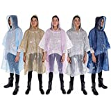 Rain Poncho: Lightweight, Waterproof Rain Gear with Drawstring Hood: 5 Pack: Emergency Disposable Rain Ponchos in Pink, Blue, Navy, Silver & Gold: Thicker Material and Packable
