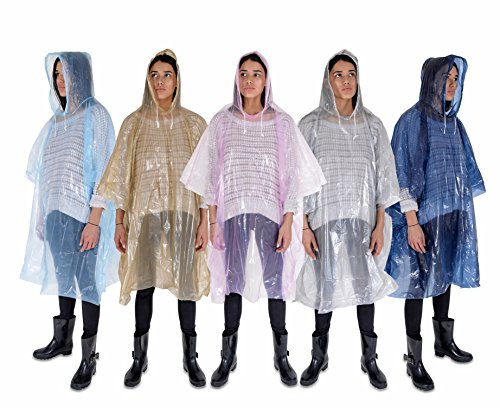 Rain Poncho :: Lightweight, Waterproof Rain Gear with Drawstring Hoods :: 5 Pack :: Emergency Disposable Ponchos for Rain in Pink, Blue, Navy, Silver & Gold :: Thicker Material :: Packable by FurrySmile