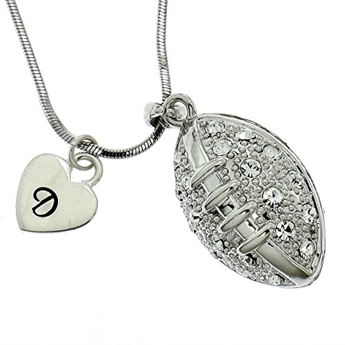 Personalized American Football Ball Necklace Sparkling Crystal Pendant Chain Customizable Hand Stamped Initial Letter Silver Heart Custom Charm Gift Sport Jewelry
