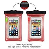 Sunbox Floating Waterproof Case with LED Flashing Warning Light and Neck Strap, Cellphone Outdoor Sports Dry Bag Pouch for iPhone X 8 7 Plus SE 5S, Note8,Samsung Galaxy S8 S7 Edge up to 6 Inch (RED)