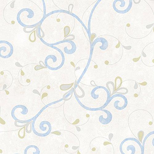 (Chesapeake CHR11605 Jada Light Blue Girly Floral Scroll Wallpaper)