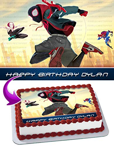 Spider-Man Into the Spider-Verse Edible Cake Image Topper Personalized Birthday 1/4 Sheet Custom Sheet Party Birthday Sugar Frosting Transfer Fondant Image ~ Best Quality Edible Image for cake