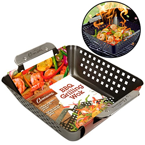 - Camerons Grill Basket- Heavy Duty Non-Stick BBQ Barbecue Grilling Wok with Stainless Steel Handles for Meat, Vegetables, and Seafood (8.5