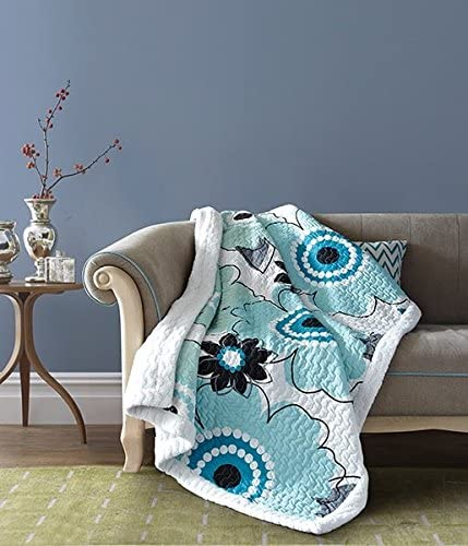Virah Bella Flower Print Quilt Throw with Sherpa Blanket Aqua White