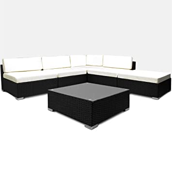 Rattan Garden Furniture Set Sofa Lounge Black Polyrattan Strong Cushion Outdoor Patio Corner Wicker