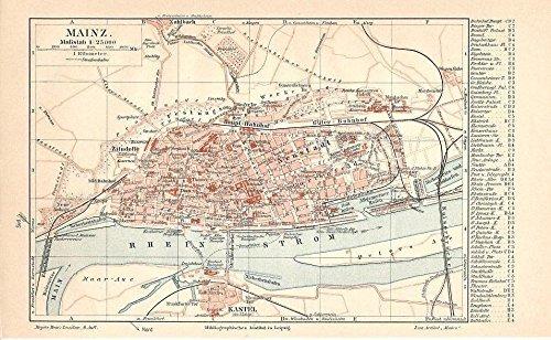 Amazon Com Mainz Germany 1908 Color Lithograph City Street Plan Map