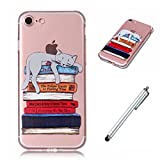 Wakso Premium Accessory Case for iphone 6 plus/6S plus Cover Ultra Slim TPU Silicone Clear Case Anti-fingerprint Shockproof Back Shell - Cat and Books + Metal Touch Pen