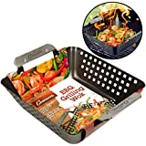 "Camerons Grill Basket- Heavy Duty Non-Stick BBQ Barbecue Grilling Wok with Stainless Steel Handles for Meat, Vegetables, and Seafood (8.5"" x 8.5"")- 3 Inch Deep Basket!"