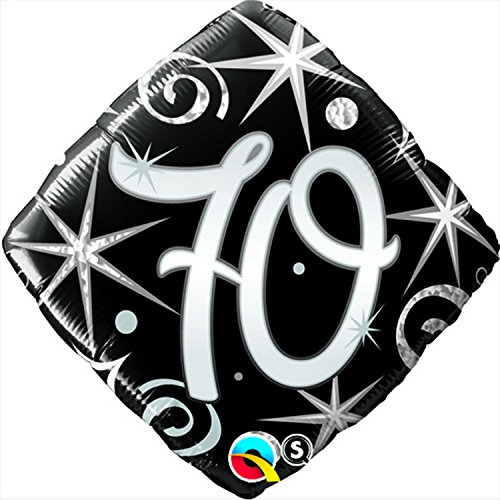 Qualatex 18 Inch Sparkles & Swirls Diamond Shaped Age 70 Foil Balloon (One Size) (Black) (70s Characters Fancy Dress)
