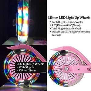 Profun Trottinette 2 Roues PU Silen cieuses Patinette Pliant et Hauteur Réglable (70 cm-80 cm), Scooter LED Lumière ABEC 7 pour Enfants 3-12 Ans