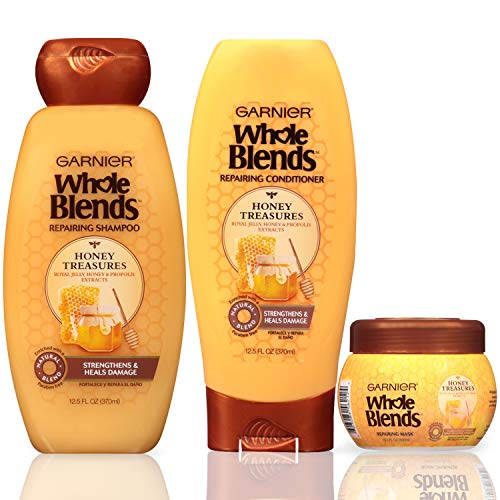 Garnier Hair Care Whole Blends Honey Treasures Repairing Shampoo, Conditioner, and Hair Mask, For Damaged Hair, 1 Kit (Best Shampoo For Really Dry Hair)