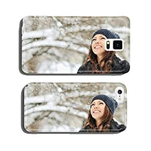 Woman playing with snow in a winter park cell phone cover case Samsung S5