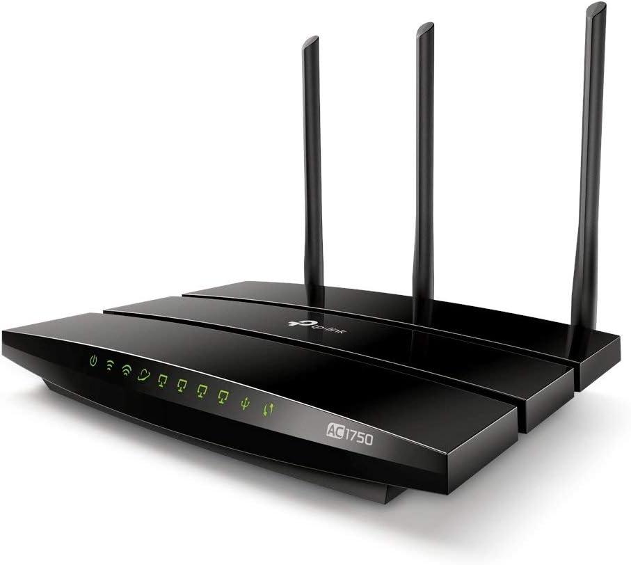 TP-Link Archer C7 - AC1750 Router Gigabit inalámbrico de doble banda, 2.4 GHz a 450 Mbps y 5 GHz a 1300 Mbps, Gigabit Puerto, USB 2.0, 3 antenas externas de doble banda