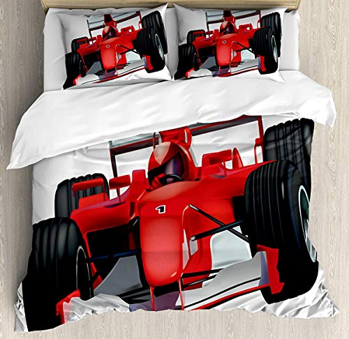 Bruyu5se Cars Duvet Cover Set Twin Size - Formula Race Car The Driver Automobile Motorized Sports Theme Strong Engine - Decorative 3 Piece Bedding Set 2 Pillow Shams - Red Black White