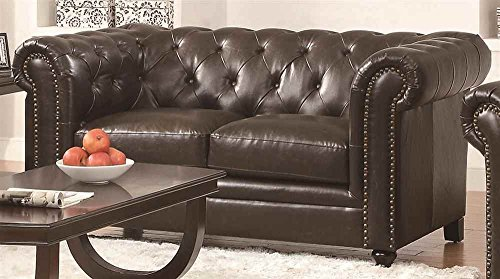 Rustic Leather Loveseat (Coaster Roy Traditional Button Tufted Love Seat with Rolled Back and Arms, Brown)