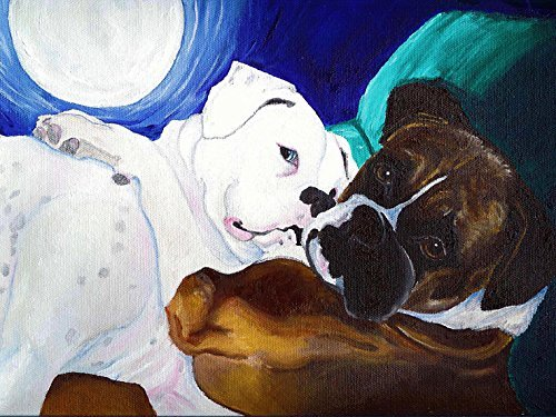 Fawn and White Boxers with Moon Signed Dog Art Print of Original ()