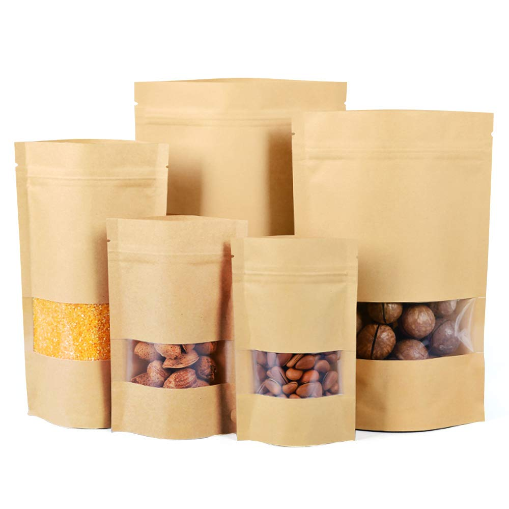 Kraft Paper Bags with Zip Lock,Window,Stand Up,Reusable for Home or Business,Pack of 20 Bags(7.0in×10.2)