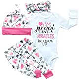 Opperiaya 4 Pcs Newborn Baby Girls Clothes Miracles