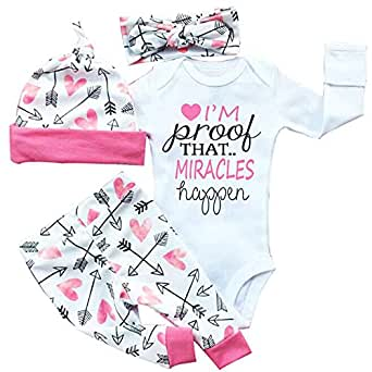 """gllive Baby Girls' Clothes Long Sleeve """"Miracles"""" Romper Outfit Pants Set +Hat+Headband 0 - 6 Months Pink"""
