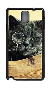 Samsung Note 3 Case Cat Monocle Glasses121 PC Custom Samsung Note 3 Case Cover Black